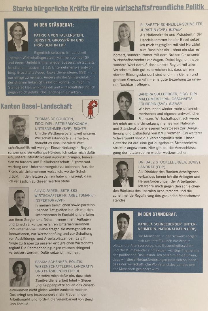 27.09.19 Arbeitgeberverband Basel «Starke bürgerliche Kräfte für eine wirtschaftsfreundliche Politik»