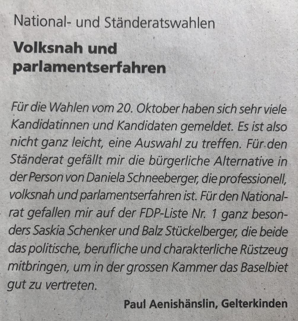 1.10.19 Volksstimme «Volksnah und parlamentserfahren»