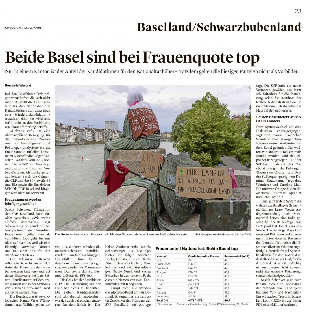 9.10.19 BZ «Beide Basel sind bei Frauenquote top»